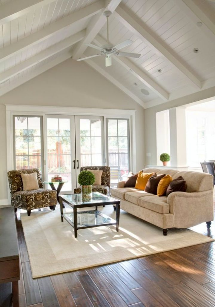 cathedral ceiling living room with white ceiling fan. Black Bedroom Furniture Sets. Home Design Ideas