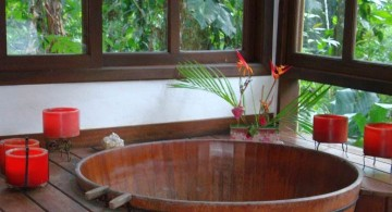 classic round tub for Japanese bathroom designs