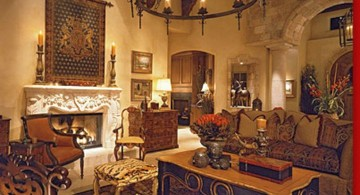 classic tuscan living room designs with old chandelier