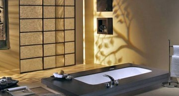 classy Japanese bathroom designs with paper walls and floor tub