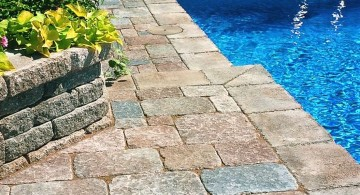 colorful river stone pool deck stone