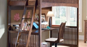 compact adult loft beds with desk in dark woods