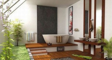 contemporary Japanese bathroom designs with wooden pathway