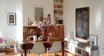 contemporary bookshelves in dining room