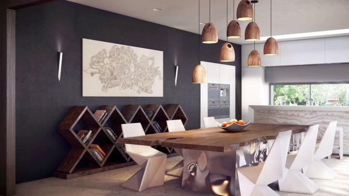 contemporary bookshelves in dining room with unique lamp