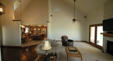 contemporary cathedral ceiling living room