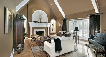 contemporary cathedral ceiling living room with wooden floor