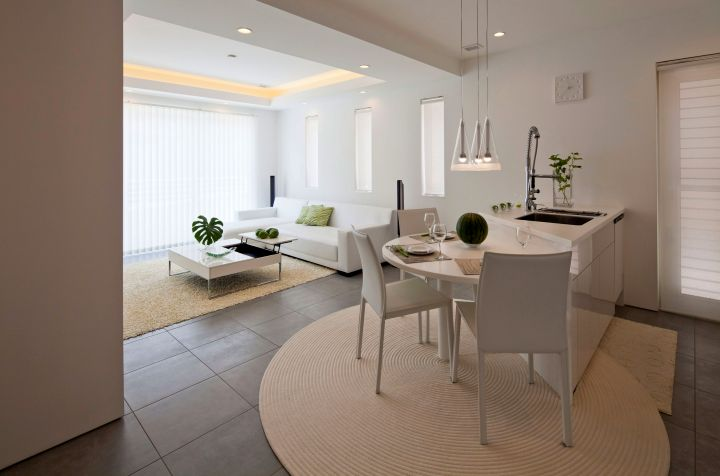 contemporary zen dining rooms in white