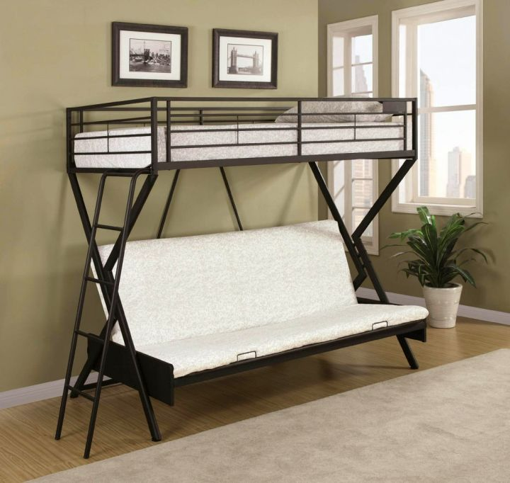 convertible bed designs for industrial bunk beds in black and white