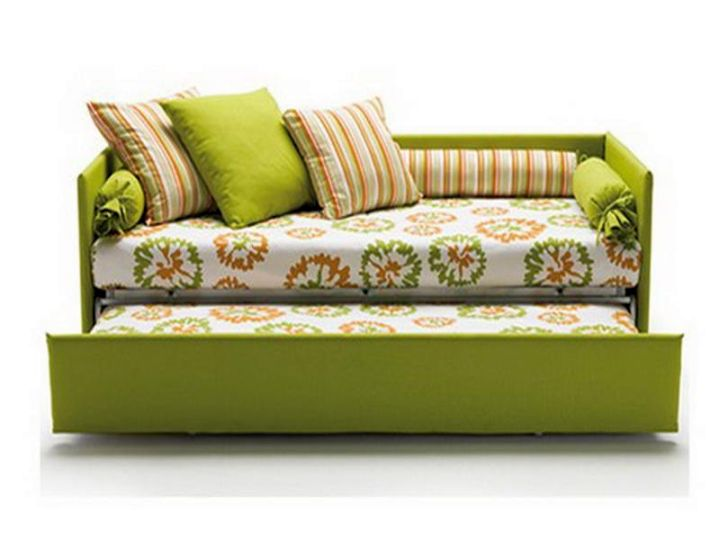 convertible bed designs in green and yellow with psychedelic pattern
