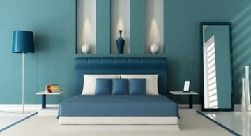 cool modern bedrooms in blue and white