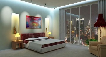 cool modern bedrooms with glass wall and red and white furniture