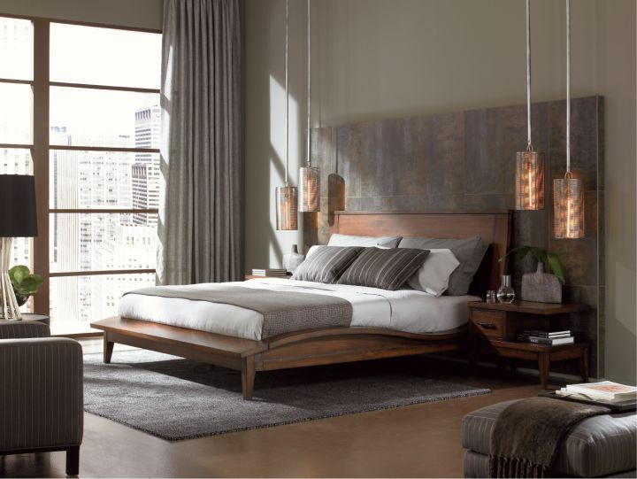 cool modern bedrooms with hanging lamps and curved bed