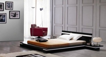 cool modern bedrooms with low bed and textured wall