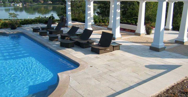 elegant pool deck stone