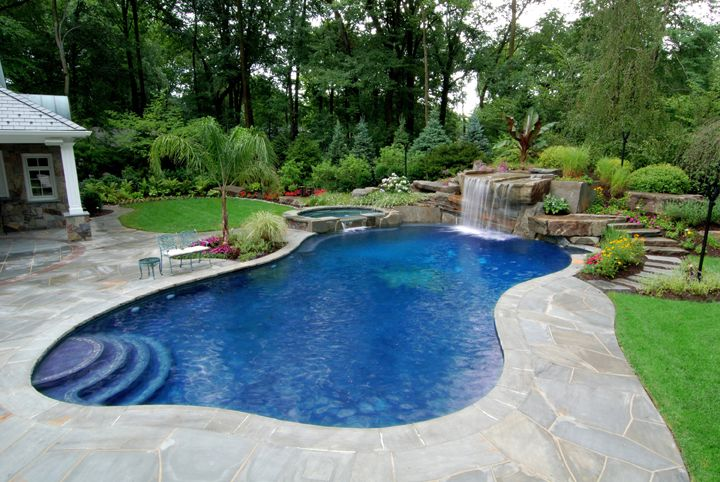 freeform pool with waterfalls for pools inground