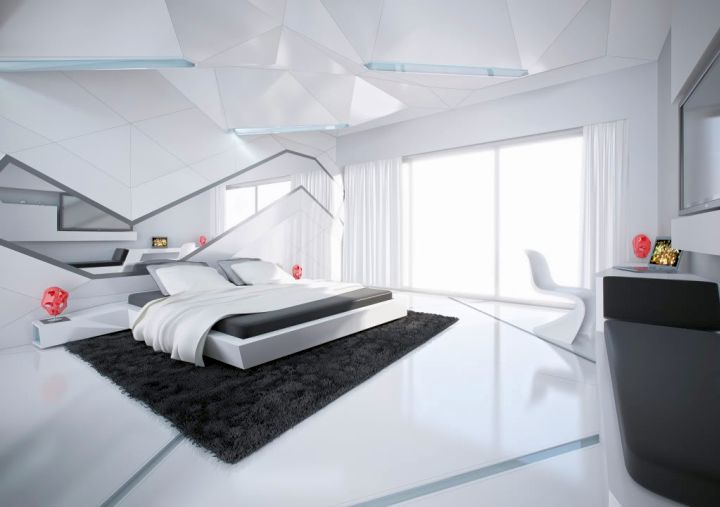 futuristic cool modern bedrooms in monochrome