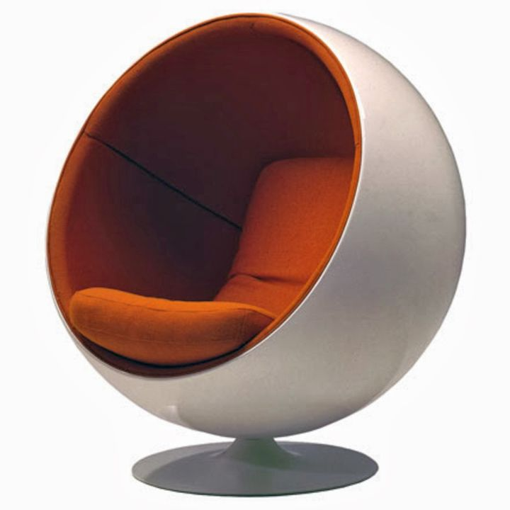 futuristic white and orange round reading chair