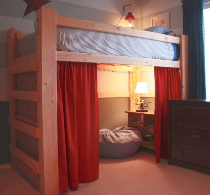 Half Tent Adult Loft Beds With Desk