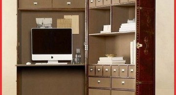 hideaway desk designs attached to cabinets