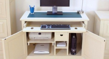 hideaway desk designs in white for computer