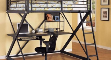 industrial Z shaped adult loft beds with desk