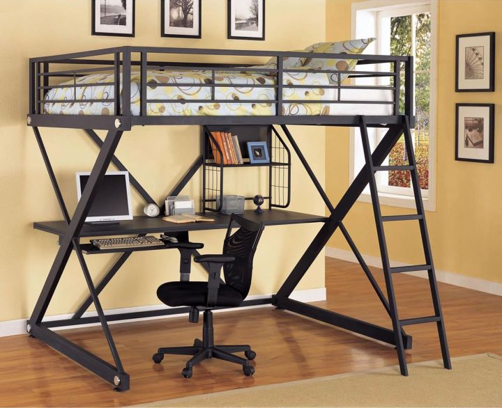 industrial Z shaped adult loft beds with desk