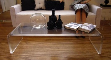 large curved acrylic coffee tables