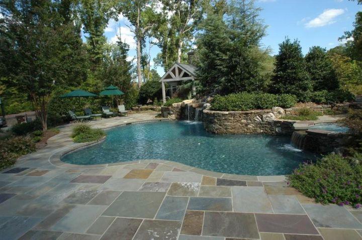 large cut multicolored pool deck stone