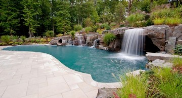 large waterfalls for pools inground