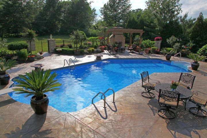 lazy l pool designs with sitting area