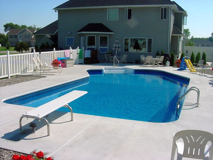 lazy l pool designs with slide and jumping board