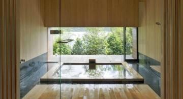 minimalist Japanese bathroom designs with floor tub
