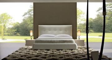 minimalist cool modern bedrooms outlooking garden
