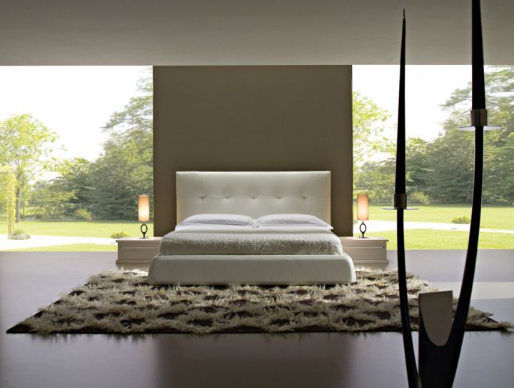 minimalist cool modern bedrooms outlooking garden