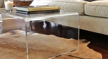 minimalist curved acrylic coffee tables