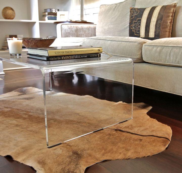 minimalist curved acrylic coffee tables