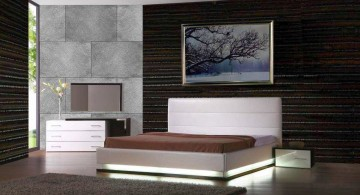 minimalist modern asian bedroom with dark wood wall panel