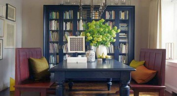 minimalistic blue bookshelves in dining room