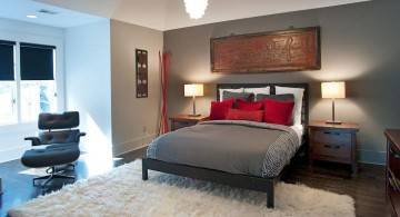 modern asian bedroom in grey and red