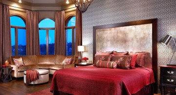 modern asian bedroom in red with unique chandelier