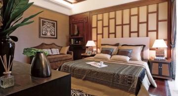 modern asian bedroom with Asian paper door panel