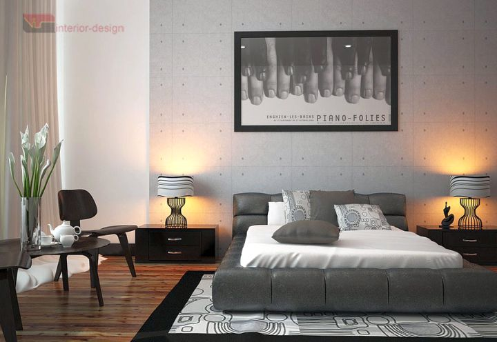 modern asian bedroom with grey bed and wooden floor