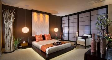 modern asian bedroom with paper doors