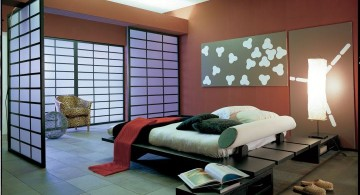 modern asian bedroom with red walls and asian door design