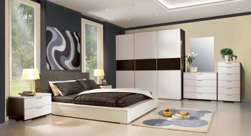 modern asian bedroom with white wall closet