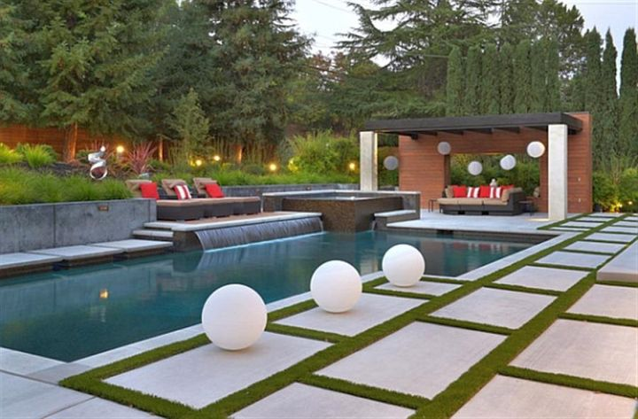 20 exquisite waterfalls designs for pools inground for Pool design kg