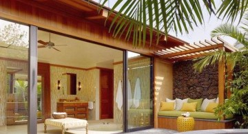 modern sliding glass door designs connecting to the pool