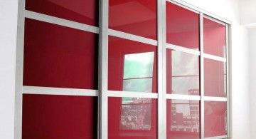 modern sliding glass door designs in red and white