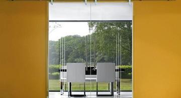 modern sliding glass door designs in yellow
